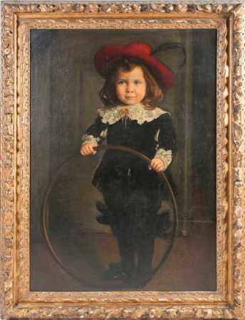 19th century Continental school, a large, full-length portrait of a child with a hoop, oil on