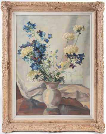 H Powel, 20th century, a still life study of flowers in a vase, oil on canvas, signed to lower right