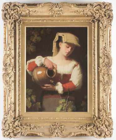 19th Century Continental school, a young woman pouring water from a stoneware jug onto plants, a