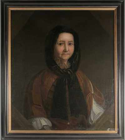 Late 18th or early 19th century Continental school, a half-length portrait of an elderly lady in a
