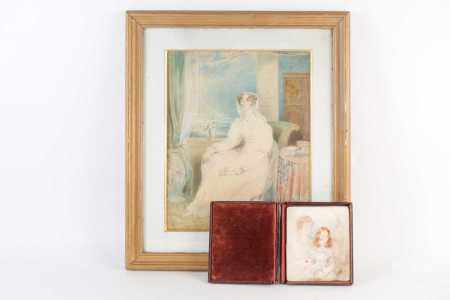 19th century school, a watercolour portrait, titled 'Elizabeth', the label verso naming her as the