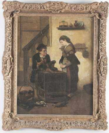 19th century Continental school, a cobbler at work in an interior setting, a woman beside him, oil