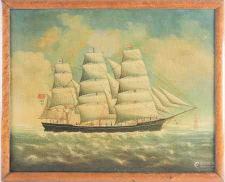J Scott (19th century), a three-masted ship named 'Ariel', at sea with figures onboard, oil on