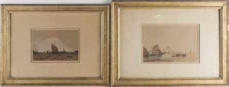 Late 19th / early 20th century, two maritime watercolours, each signed 'Frantz', the largest 15.8 cm