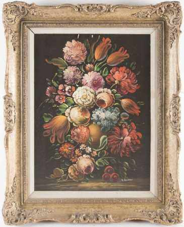Anna Sanesi (b.1924), a still life study of flowers, oil on canvas, signed to lower right corner,