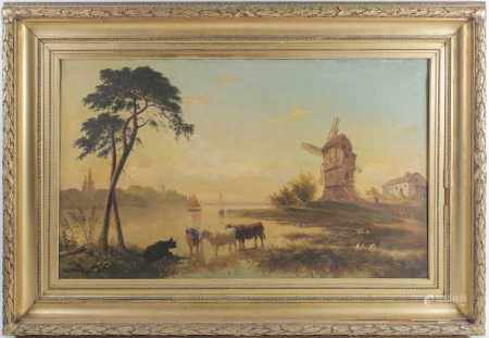James Roberts (2nd half 19th century), 'The Old Mill, Evening', large oil on canvas, signed verso