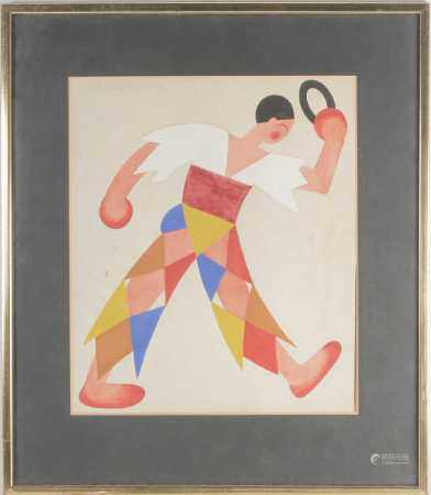 Attributed to Valentina Khodasevich (1894-1970) Russian, an abstract figure in a harlequin