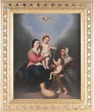 After Bartolomé Esteban Murillo (1617-1682) Spanish, 'The Holy Family', a 19th century oil on