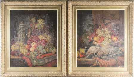 19th century school, a pair of still life studies, game, fruit and other items, indistinctly