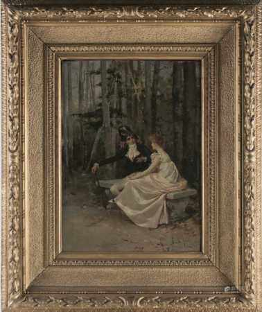 R M La Monaca (19th/20th century), a finely dressed courting couple in a woodland setting, oil on