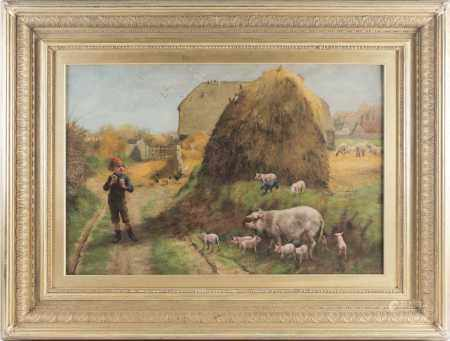 Herbert William Weekes (act. 1856-1904), a farm scene with a group of bigs before a haystack,