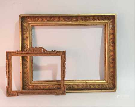 A Victorian carved and gilt gesso picture frame 70cm x 86cm x 8.5cm (Overall depth) Aperture size: