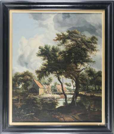 Early 20th century school, a watermill in a rural setting, unsigned oil on canvas, 81 cm x 66 cm