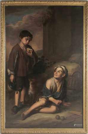 Manner of Bartolomé Esteban Murillo (1618-1682), a large 19th century oil on canvas, a boy