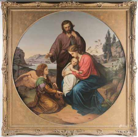 Late 19th century or early 20th century, a large circular depiction of the Holy Family after the