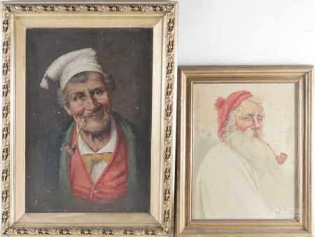 19th century Continental school, a portrait of an elderly man, a pipe in his mouth, oil on canvas,