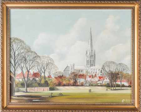 A. Tingley (20th century), 'Norwich Cathedral from Riverside Walk', oil on panel, signed to lower