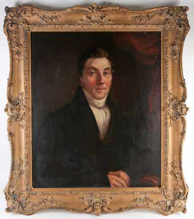 19th century school, a half-length portrait of a seated gentleman, unsigned oil on canvas, 79 cm x