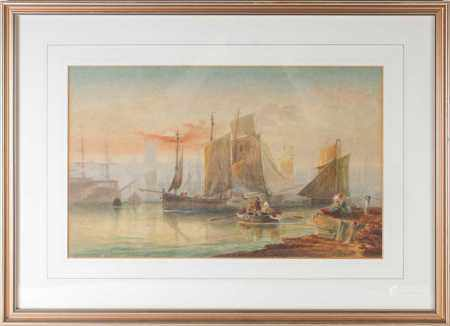 19th century school, boats in a harbour at sunset, indistinctly signed watercolour, 27 cm x 43.5 cm,