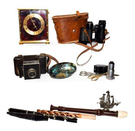 A tray of assorted including Astral quartz mantel timepiece, pair of cased binoculars marked Zuiho