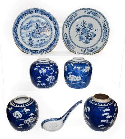 Two 18th century Chinese blue and white plates, four later ginger jars and a spoon (one tray)