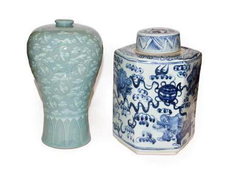 A hexagonal Chinese blue and white jar and cover, painted in underglaze blue with temple dogs