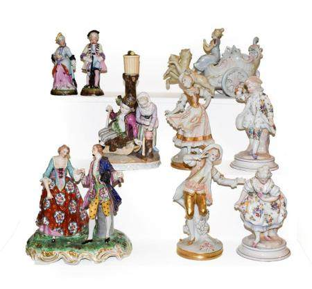 A tray of Continental porcelain figures including a Samson group after Derby, Sitzendorf figural