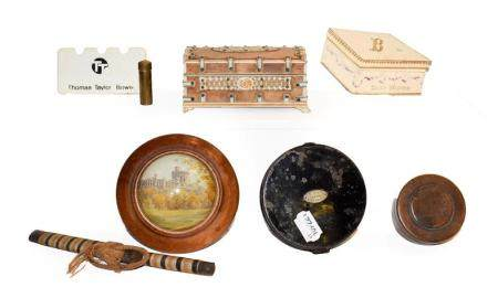 A tray of collectables including a Hardy Bros. fly tin, Indian bone mounted casket, hydrometer style