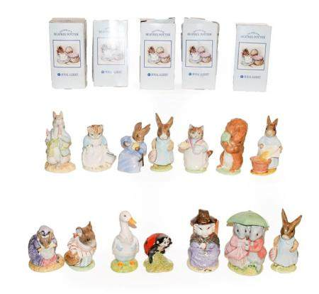Fourteen boxed Royal Albert Beatrix Potter figures, to include; Cottontail, Mrs Flopsy Bunny x2,