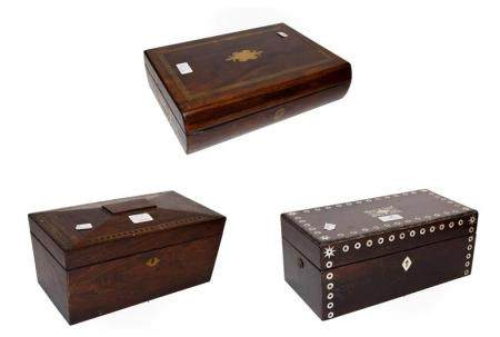 A 19th century brass inlaid rosewood tea caddy, a similar mother of pearl inlaid box and a