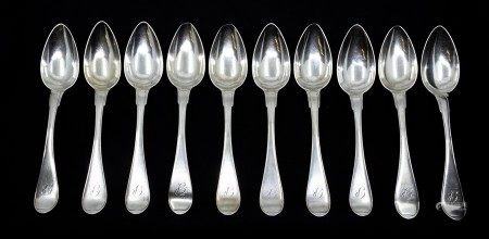 A set of ten early 19th Century Swedish silver table spoons, each engraved with initials, by Johan