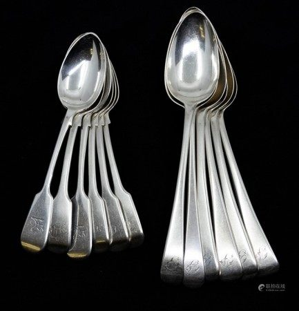 Six George III silver Old English pattern table spoons, engraved with initials, various dates and