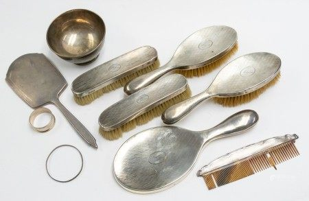 A collection of silver to include a dressing table sets, machine engraved pattern to  mirror, x2