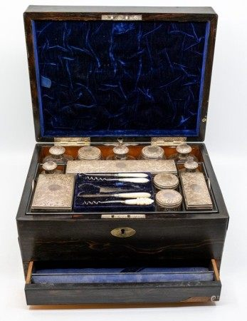 A early Victorian coromandel lady's dressing table box, the interior with a compartmented removeable