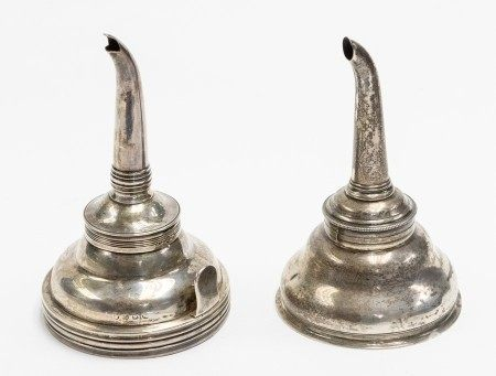 A George III silver ogee shaped wine funnel, the body engraved with initial G, maker's mark probably