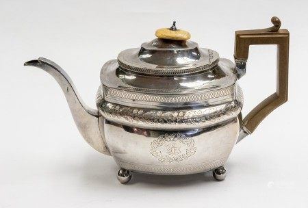 A George III silver large teapot, oblong bright cut engraved with greek key, squiggle work and acorn