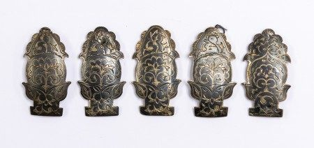 A set of five 19th Century Russian .84 silver standard buckles, shaped oval engraved with floral