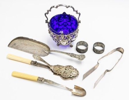 A collection of Victorian and later plate to include: Stilton scoop, a King's pattern asparagus