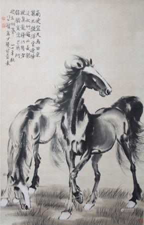 近現代 徐悲鴻 雙馬