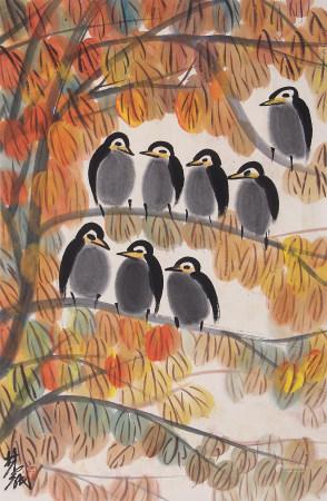 近現代 林風眠 紅葉小鳥