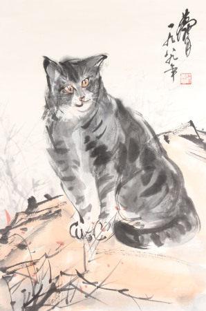 近現代 黃胄 貓