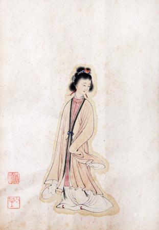 近現代 陳少梅 仕女