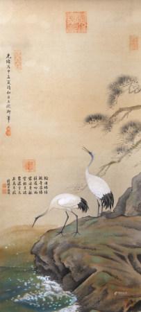 清代 慈禧 瑞鶴圖(陸潤癢題拔)