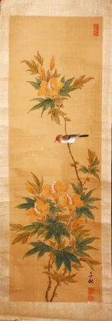 FOUR SMALL CHINESE SCROLL PAINTINGS, depicting birds on branches (AF), largest image 95cm x 29cm.