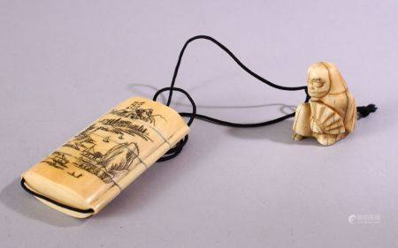 A JAPANESE MEIJI PERIOD CARVED IVORY THREE CASE INRO & NETSUKE, The inro carved with native
