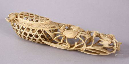 A JAPANESE MEIJI PERIOD CARVED IVORY CRAB GROUP OKIMONO - depicting a basket of crabs with three