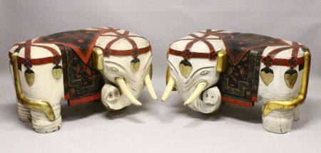 A PAIR OF LARGE 19TH CENTURY CHINESE HARDWOOD DECORATED ELEPHANT FORMED SEATS, The mirrored pair