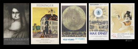 恩斯特*2、達利、萬得里奇、費寧格  展覽海報共五張