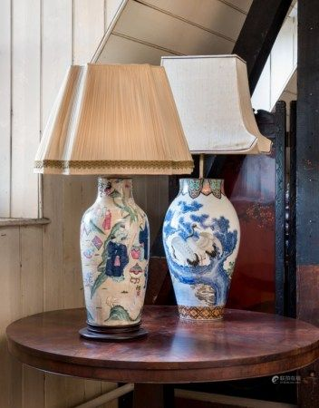 TWO CERAMIC VASES, MOUNTED AS LAMPS 19TH/20TH CENTURY