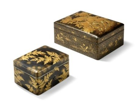 TWO JAPANESE GOLD AND BLACK LACQUER BOXES MEIJI PERIOD (1868-1912)